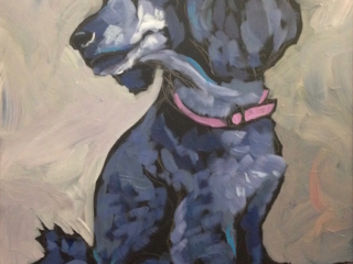 12x16 acrylic on black gesso original painting of poodle