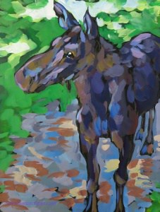 young-moose-on-the-path9x12sm814